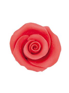 Juego de 10 decoraciones de rosas de azúcar rojas de 5 cm
