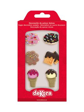 Set de 6 decoraciones de azúcar con formas de dulces