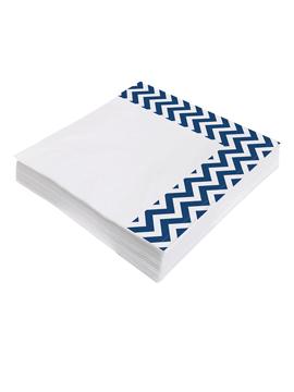 Juego de 20 servilletas de papel azul marino y blanco de 33x33 cm