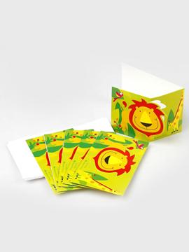 Juego de 6 invitaciones de cartón y sobres blancos de animales de la jungla