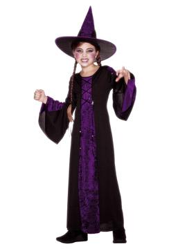 Disfraz Bruja Morado y Negro Infantil