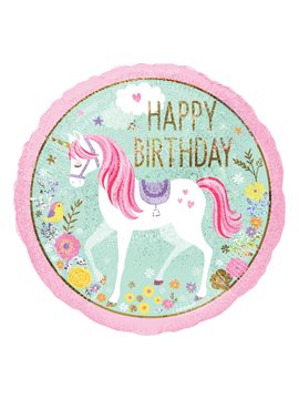 Globo Foil Unicornio Happy Birthday 45 cm