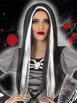 Peluca Negra con Mechas Blancas 60 cm