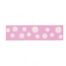Cinta satinada Daisies pink 36mm (1 mts)