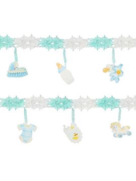 Guirnalda para fiestas de nacimiento azul de 3 metros de largo con figuras colgantes