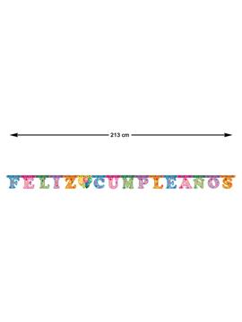 Guirnalda Feliz Cumpleaños multicolor con estampado festivo de 213 cm
