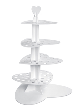 Stand para cupcakes de 4 alturas con forma de corazón de 70 cm LOVE AFFAIR