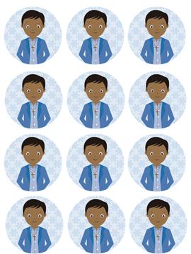 12 Impresiones en Papel de Azúcar Niño Comunión Modelo H