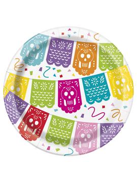 Juego de 8 platos mexicanos de cartón con diseño multicolor de 17 cm