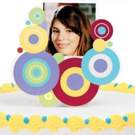 Adorno con foto para tartas círculos de colores