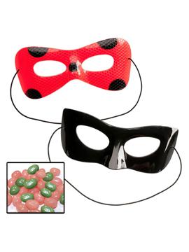 Máscaras Ladybug y Cat Noir con caramelos