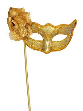 Antifaz Dorado con Flor y Palo