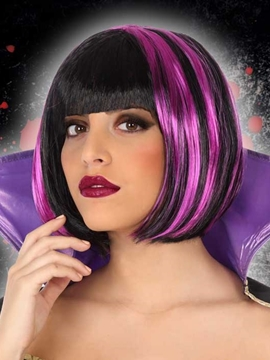 Peluca con Flequillo Negra y Púrpura
