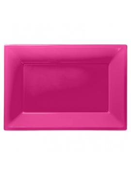 Set de 3 Bandejas Rosa Fuerte 33 cm x 23 cm