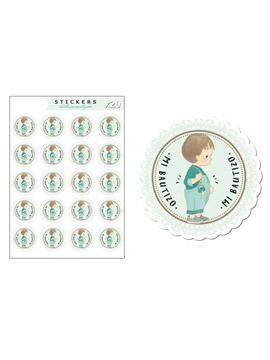 Kit de 20 Etiquetas de Vinilo Adhesivo Bautizo Niño
