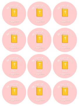 Papel de Azúcar Comunión Biblia Rosa 6 cm