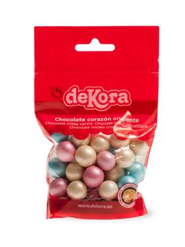 Bolitas de chocolate con corazón crujiente en colores perlados de 100 gramos