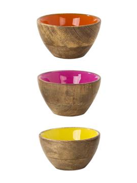 Set de 3 mini bowls de madera en 3 colores diferentes