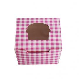 Caja cupcakes 1 ud. Gingham color rosa