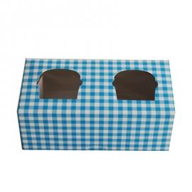 Caja cupcakes 2 uds. Gingham color celeste