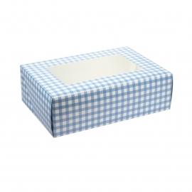 Cája para 6 cupcakes Gingham blue