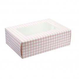 Caja para 6 cupcakes Gingham Pink