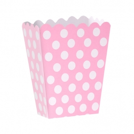 Caja para Palomitas Rosa con Lunares Blancos - Miles de Fiestas