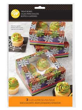 Cajas para Cupcakes Telaraña 3 ud