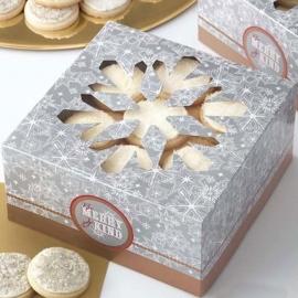 Cajas para galletas cuadradas copos de nieve