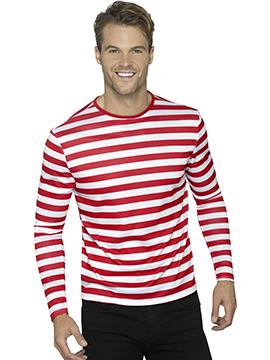 Camiseta a Rayas Rojas y Blancas Adulto