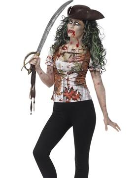Camiseta Pirata Zombie Mujer