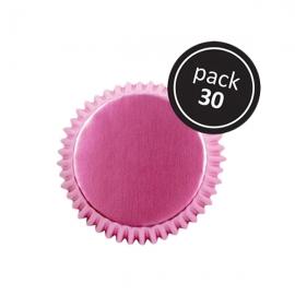 Pack 30 Cápsulas para Cupcakes Rosa Metalizado