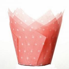 Cápsulas para muffins rosas con lunares blancos 50 unidades
