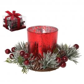 Decoración Navidad Portavela Cristal Rojo