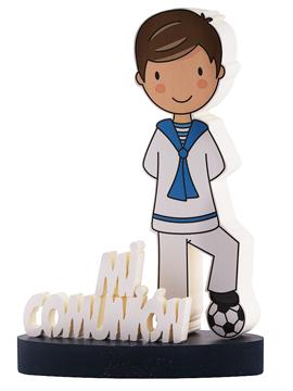 Centro de mesa Mi Primera Comunión fútbol niño castaño