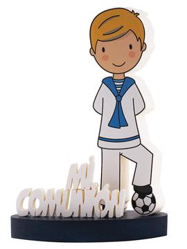 Centro de mesa Mi Primera Comunión fútbol niño rubio