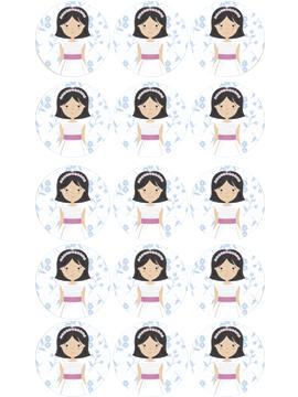 15 Impresiones en Papel de Azúcar Niña Comunión Modelo A