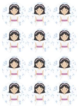 Impresión en papel de azúcar niña de comunión modelo a - Miles de fiestas