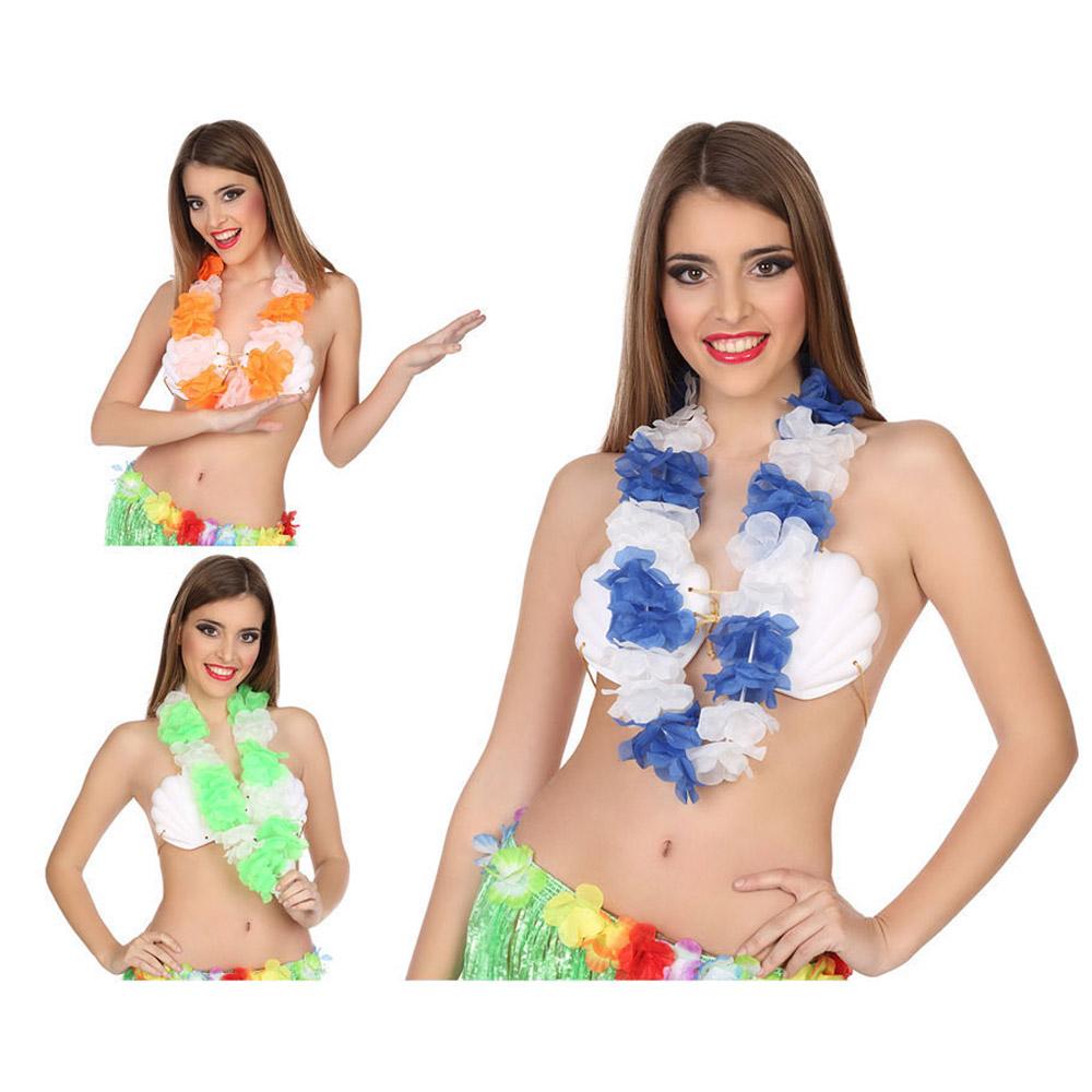 Collar hawaiano de flores azules y blancas