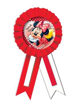 Condecoración de Minnie Mouse roja y blanca con confetti
