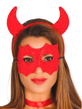 Conjunto Demonio Diadema y Máscara Roja