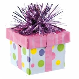Contrapeso para globos rosa con forma de regalo