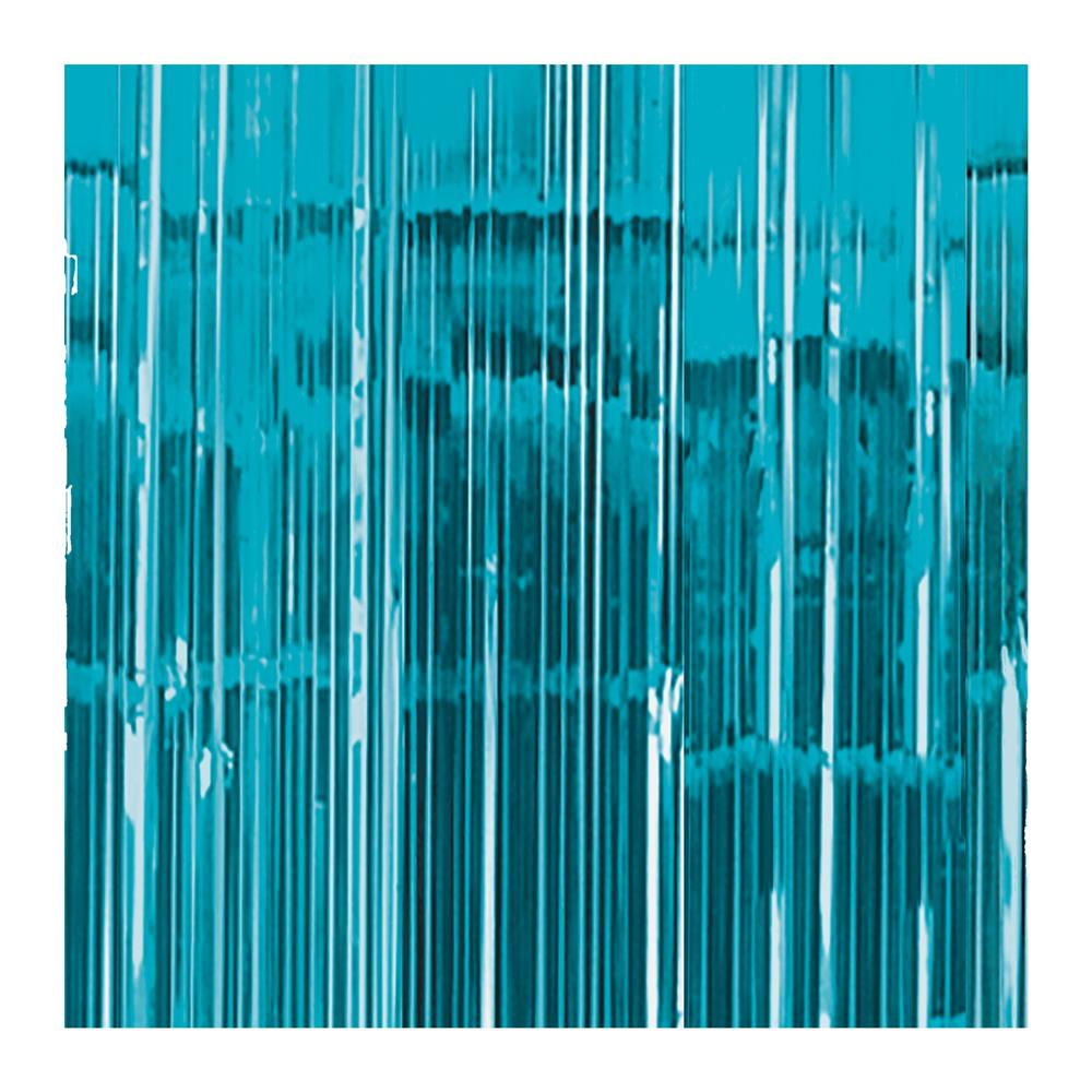Cortina para Fiestas Azul Caribe Metalizado