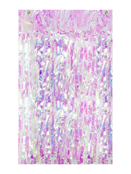 Cortina de flecos iridiscente para fiestas