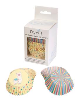 Cápsulas para cupcakes de dos modelos diferentes de la colección Llama Love
