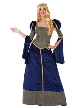 Disfraz Dama Medieval Azul Adulto