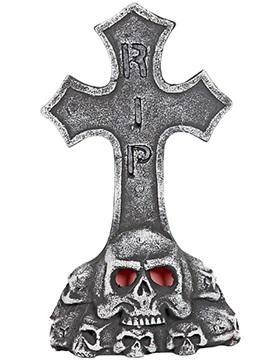 Decoración Lápida Cruz Calavera con Luz 50 cm