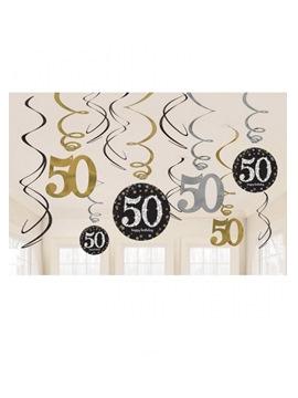 Set de 12 Decoraciones 50 años Gold Sparkling