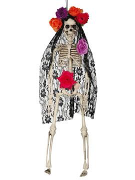 Decoración Colgante Esqueleto con Mantilla