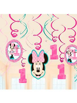 Decoración Colgante Espirales Minnie Mouse 1 año 12 piezas